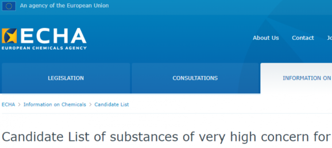 4 new substances added to the Candidate List of substances of very high concern (SVHCs) for authorisation